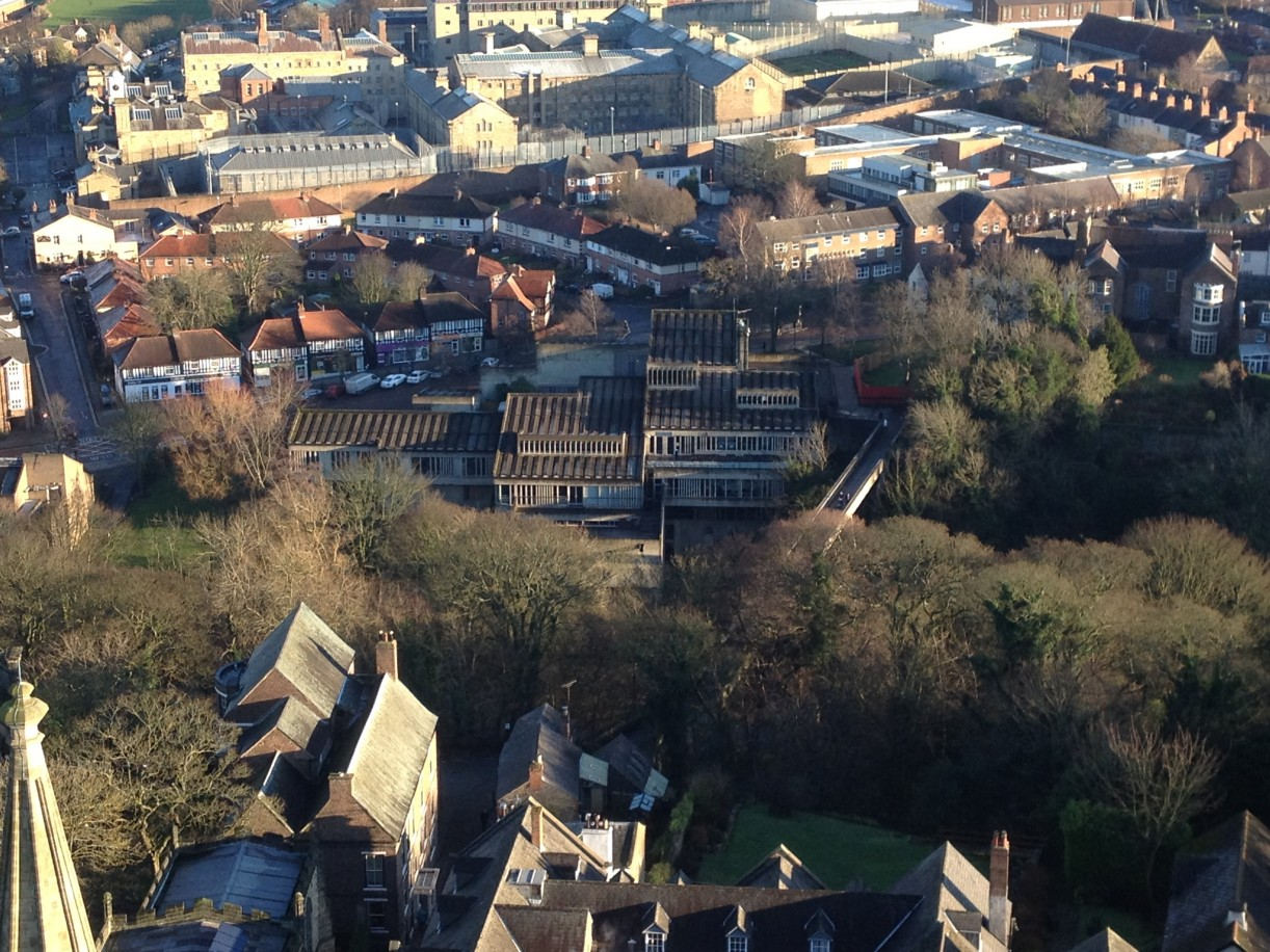Dunelm House and Kingsgatge Bridge from DurhamCathedral tower